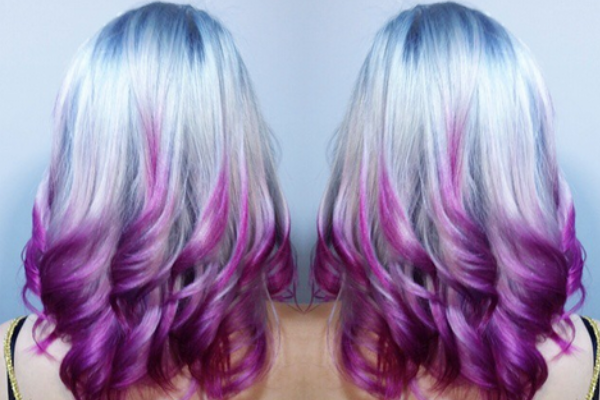 Blue and purple ombre hair