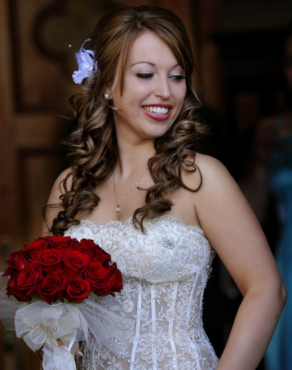 Long curly hair for wedding hairstyles