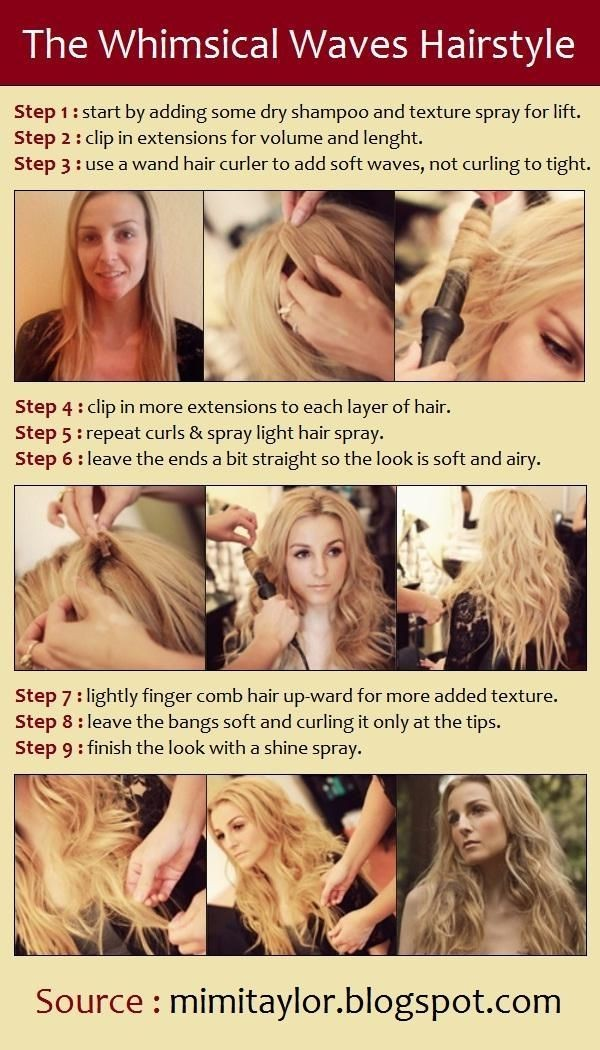 Trendy tutorial for long wavy hairstyles