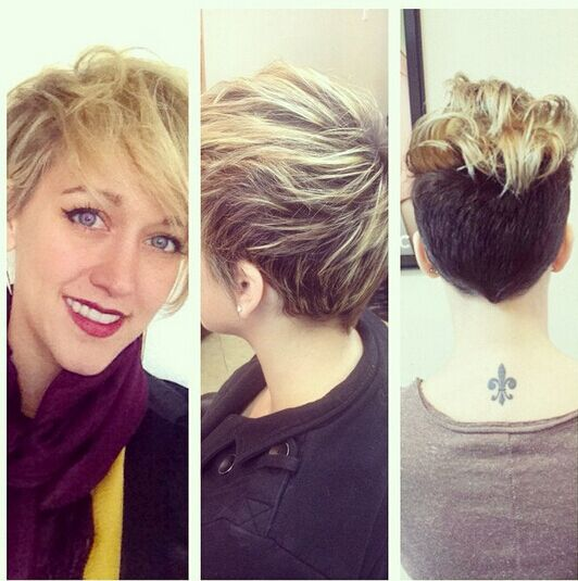 Chaotic short haircut with side bangs