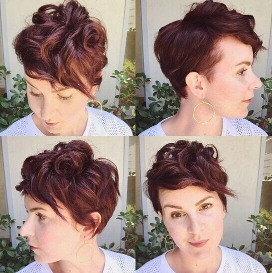 Short curly hairstyle with side bangs