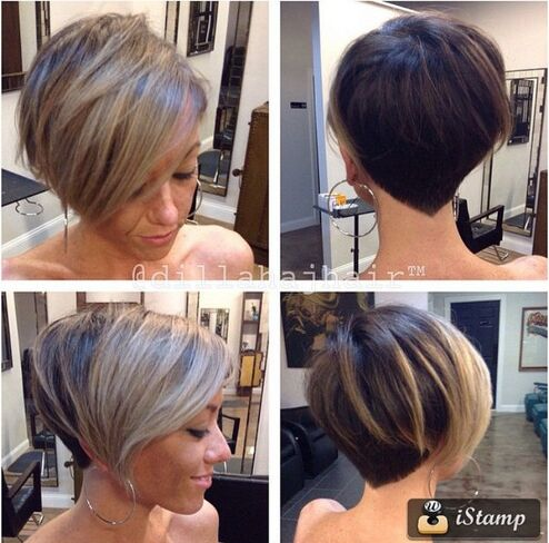 Short hairstyle with blonde highlights