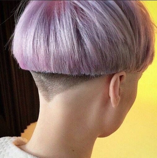 Cool short hairstyle with a blunt cut