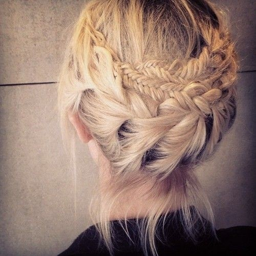 Double braided updo for medium hair
