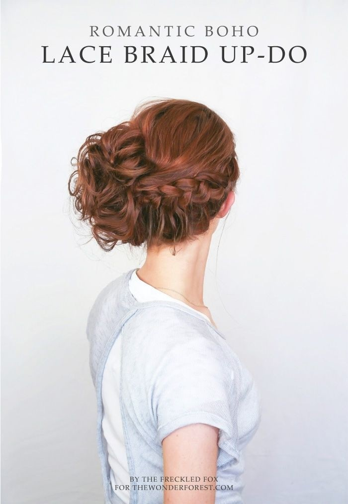 Romantic lace braid updo hairstyle
