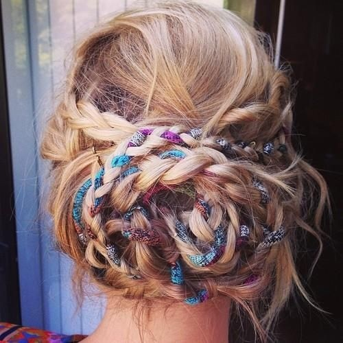 Messy Boho Braided Updo Hairstyle