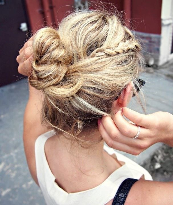 Casual braid updo hairstyle for girls