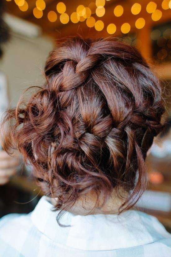 Messy braided updo hairstyle