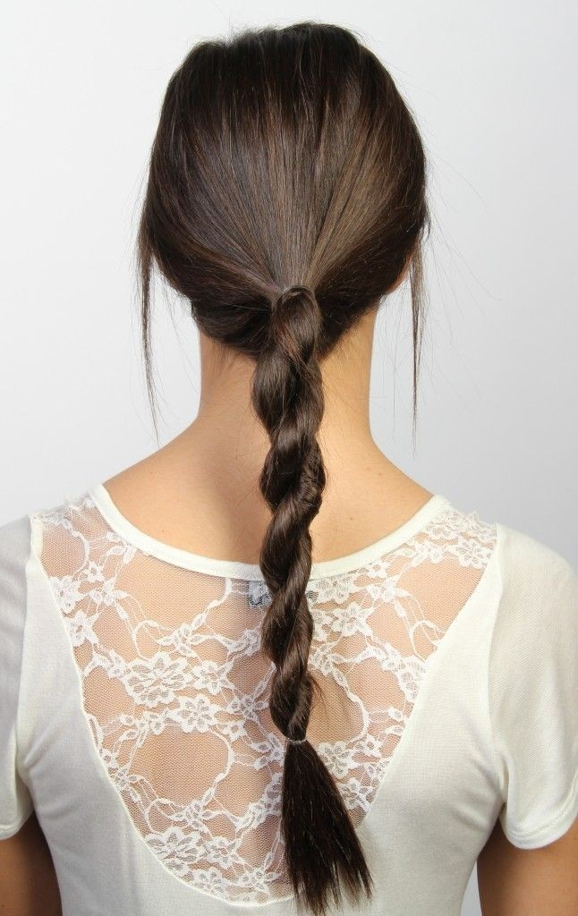Twisting braid hairstyle for long straight hair