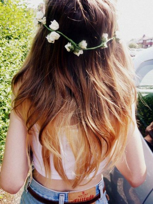 Long ombre straight hairstyle