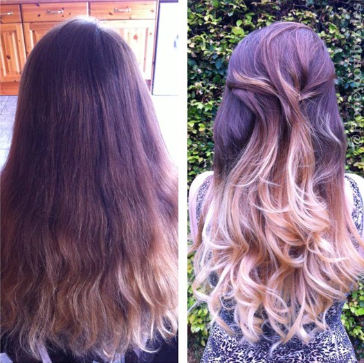 Simple wavy long hairstyle for ombre hair
