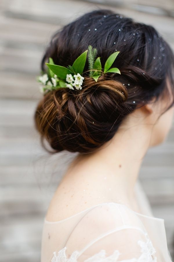 Elegant floral updo hairstyle