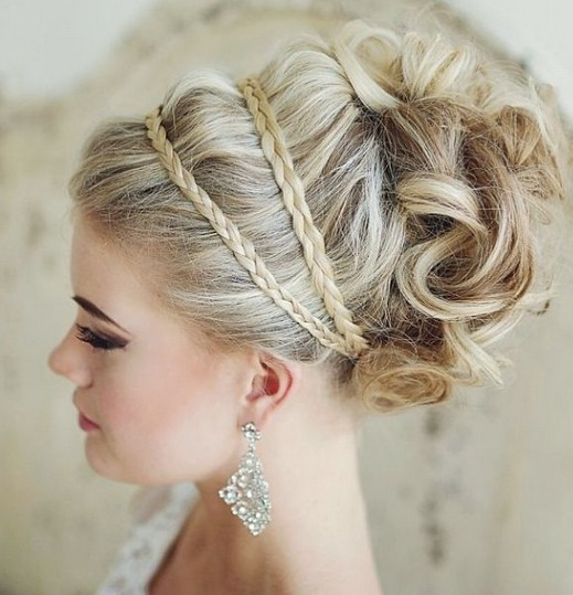 Top bun hairstyle with braid