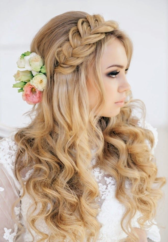 Long wavy hairstyle with braid for wedding