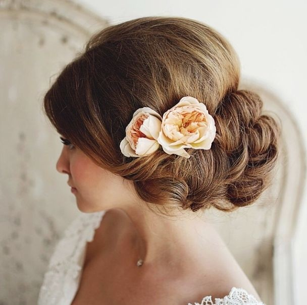 Pretty side updo for bridal hairstyles