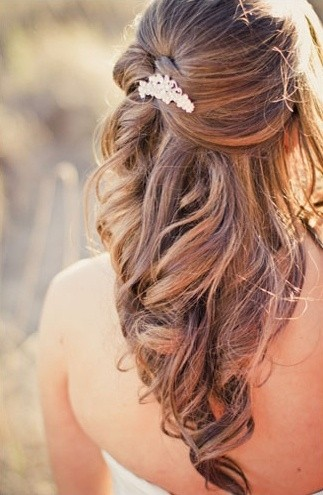 Pinned half updo for wedding
