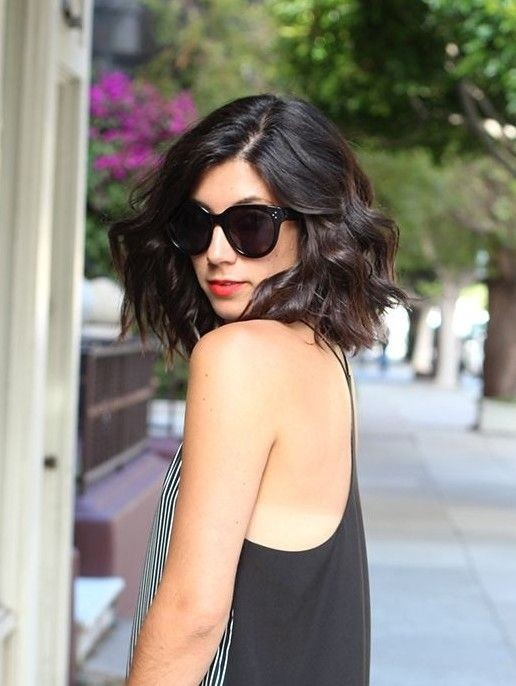 Long wavy bob hairstyle for brunette hair