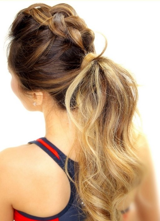 Pretty braided ponytail for long hair