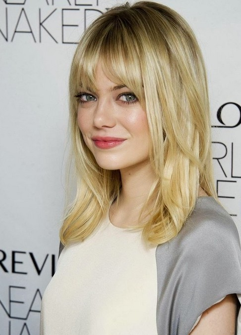 Medium hairstyle with bangs for blonde hair