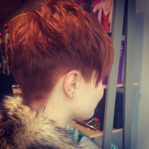 Layered pixie haircut for red hair
