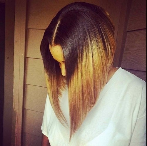 Straight long bob haircut for ombre hair