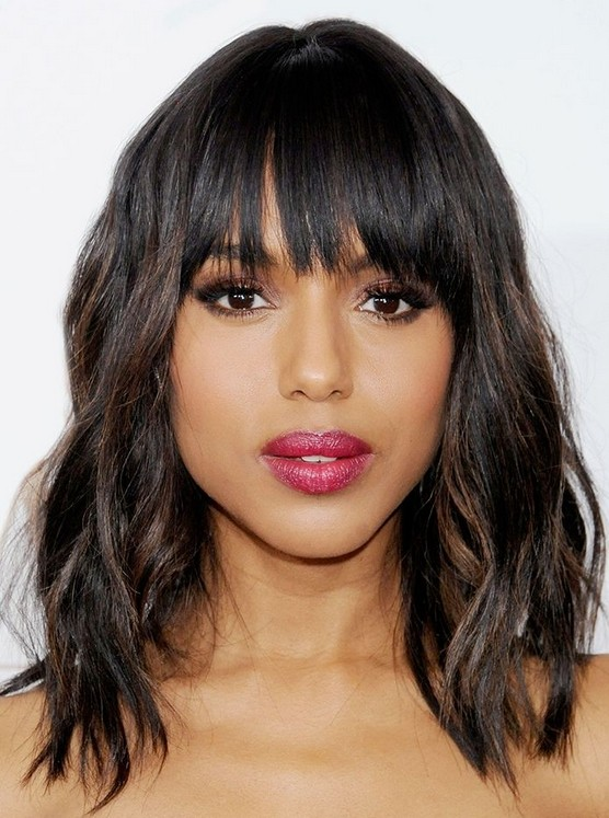 Middle layer haircut with blunt bangs