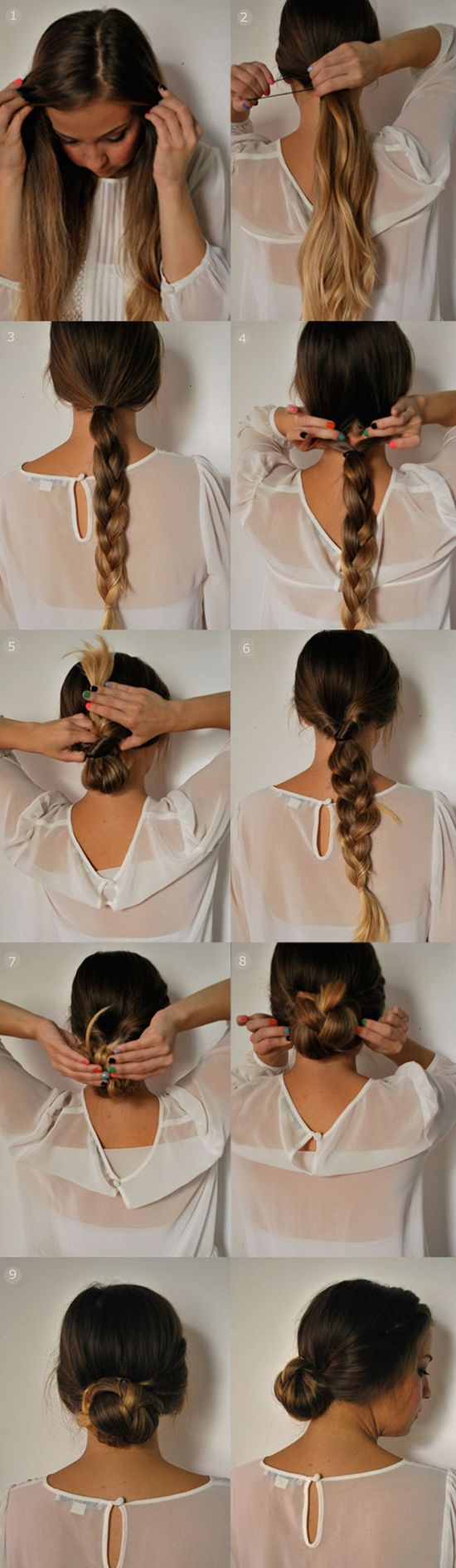 Quick 5 minute updo braided ponytail updo