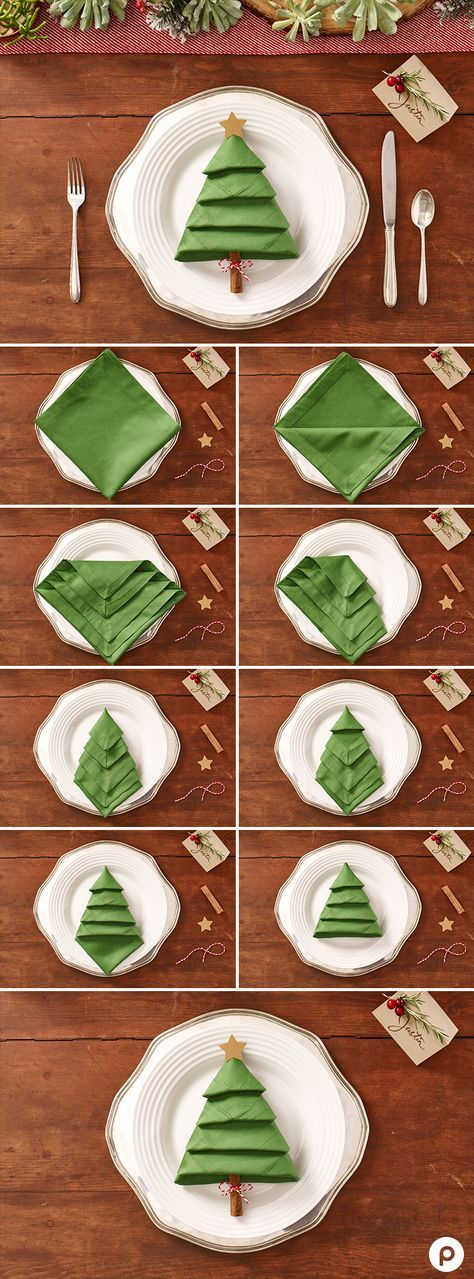 Christmas tree napkins over