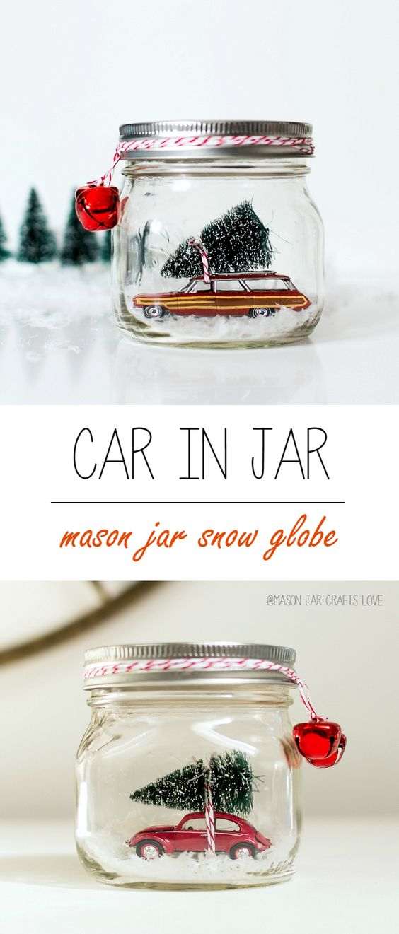 Mason Jar Snow Globe Above