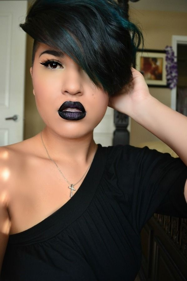 Short black hairstyle with side-swept bangs