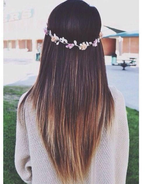 Long layered hairstyle for straight hair