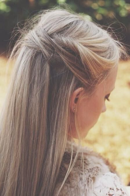 Half-up hairstyle for long straight hair
