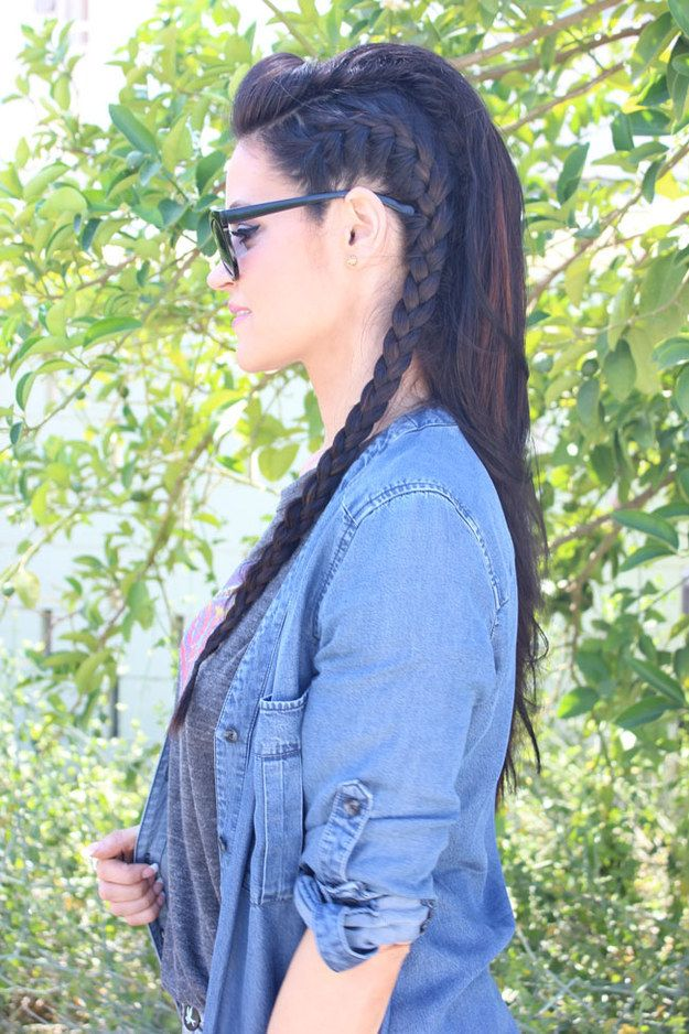 Faux hawk hairstyle with French braid