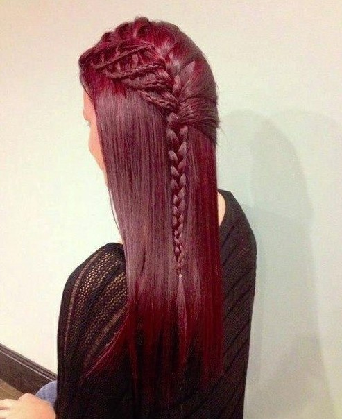 DIY braid hairstyle for red hair