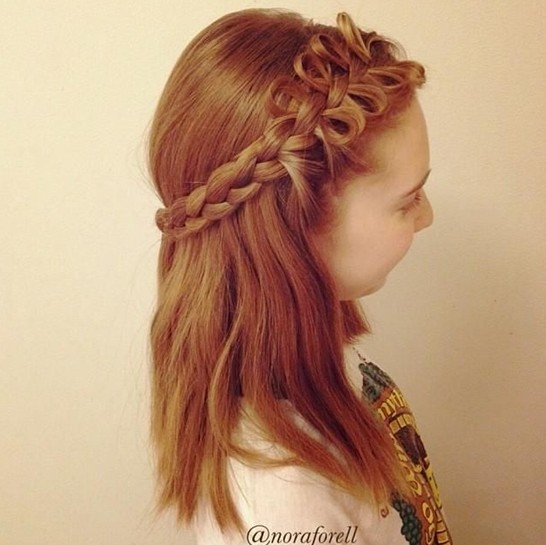 Nice braided hairstyle for medium hair