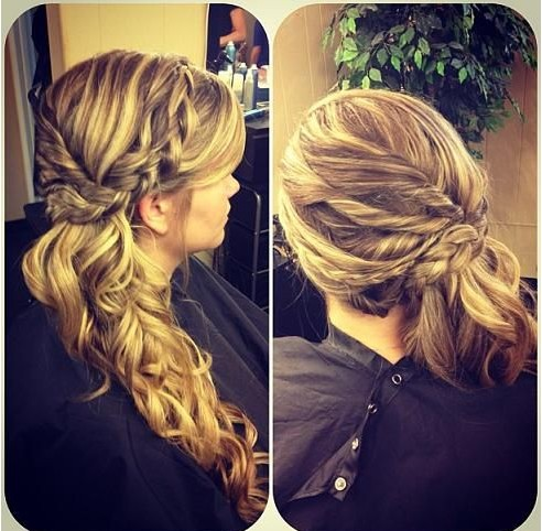Braided ponytail hairstyle on the side
