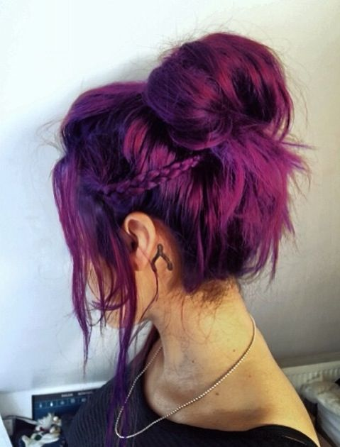 Messy Bun Hairstyle for Purple Hair