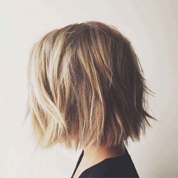 Messy short bob haircut for thick hair