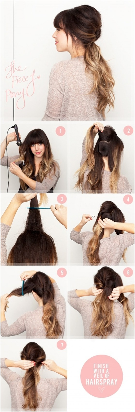 Simple ponytail hairstyle for ombre hair