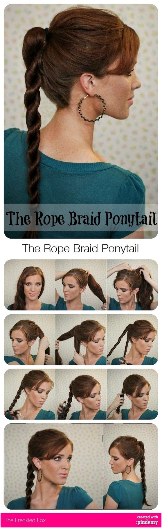 Rope ponytail hairstyle tutorial