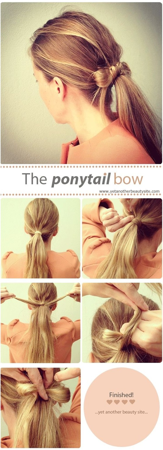 Ponytail bow hairstyle tutorial