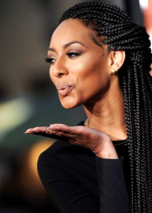Box braided hairstyle for African American women