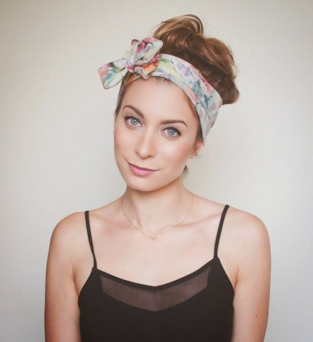 High bun hairstyle with headscarf