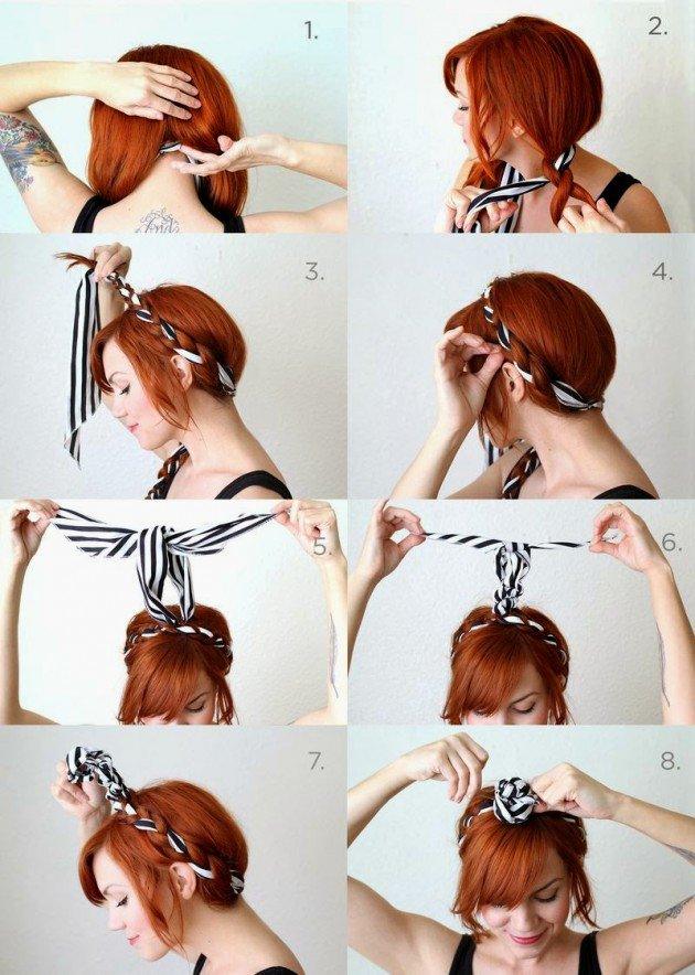 Virgin braid with scarf headband tutorial 2