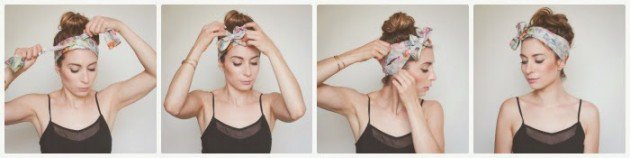 High bun hairstyle with headscarf 3