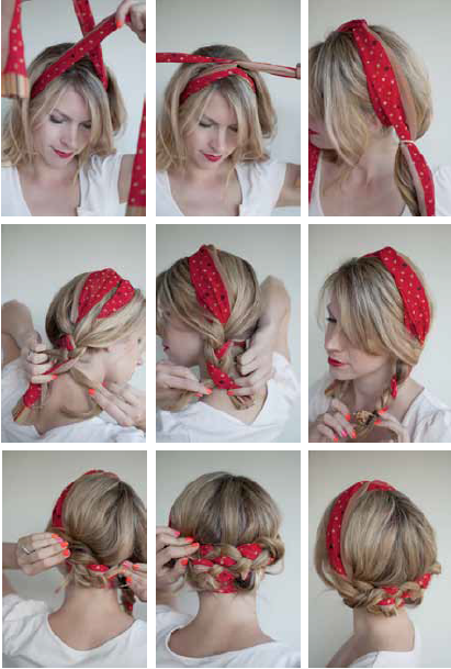 Pigtail Braid with Polka Dot Scarlf