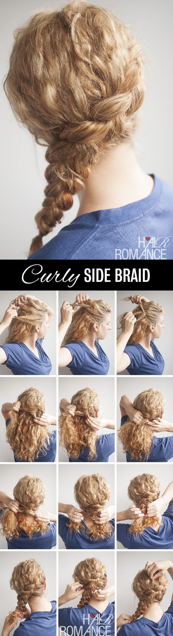 Side braid hairstyle tutorial for curly hair