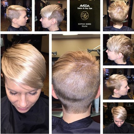 Shaved short hairstyle for fine straight hair