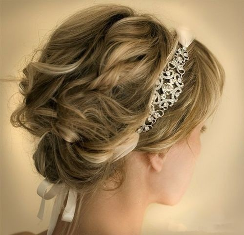 Wedding updo hairstyle for short wavy hair