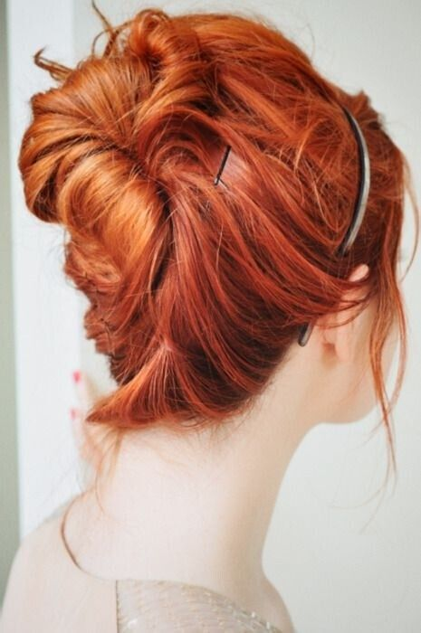 Simple bun updo for medium hair